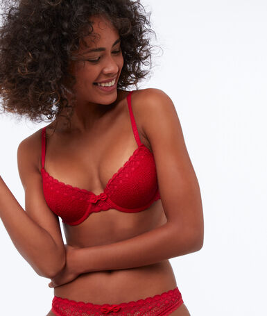 Bra no. 4 - lace classic padded bra red.
