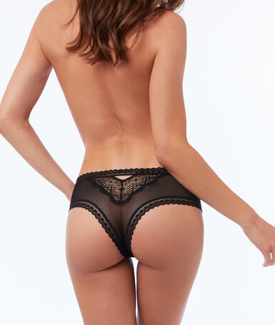 High waist lace hipster black.