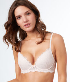 Lace push-up bra white.