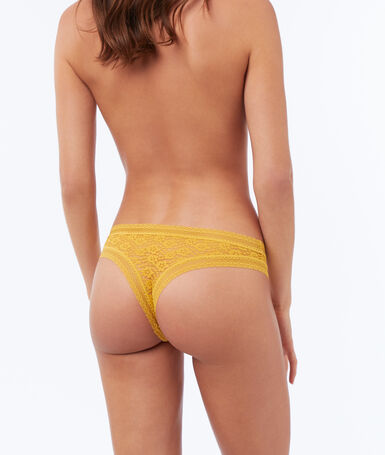 Floral lace tanga ocre.