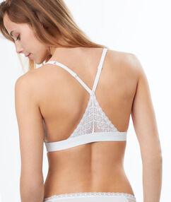 Lace and micro triangle bra white.