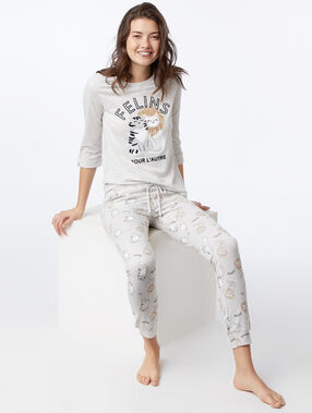 Cat print pyjama trousers light grey.