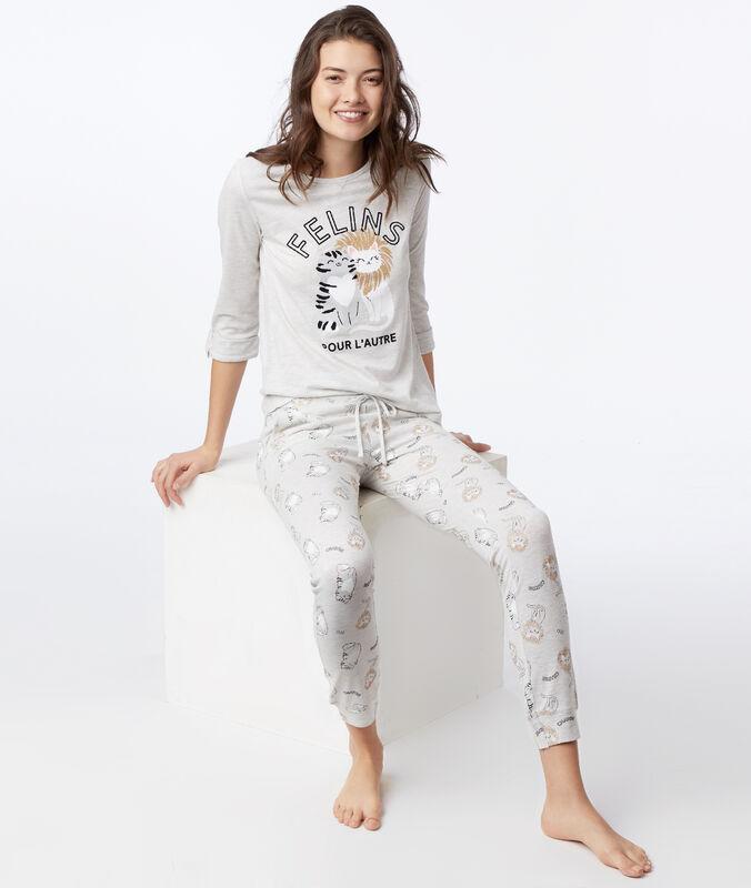 Pantalon à motifs chat gris clair.