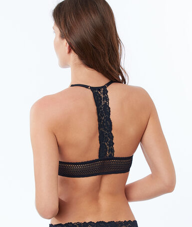 Bra no. 2 - lace plunging push-up, racer back navy.