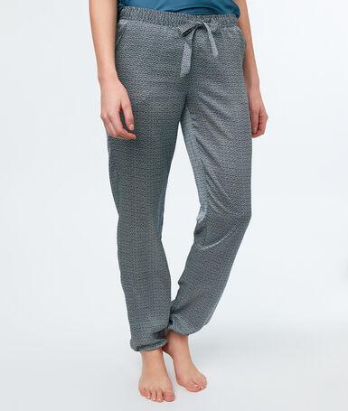 Pantalon satin micro imprimé gris.