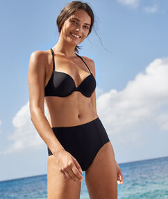 High waist bikini bottom black.