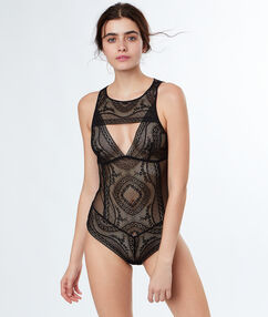 Openwork lace bodysuit black.