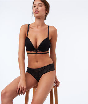 Bra no. 5 - classic padded bra with strappy detail black.