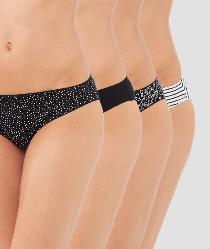 Pack of 4 briefs black/white.