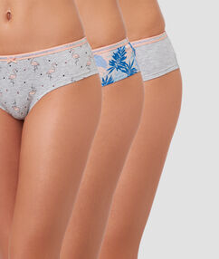 Lot de 3 shortys gris.