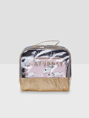Cat print wash bags grey.