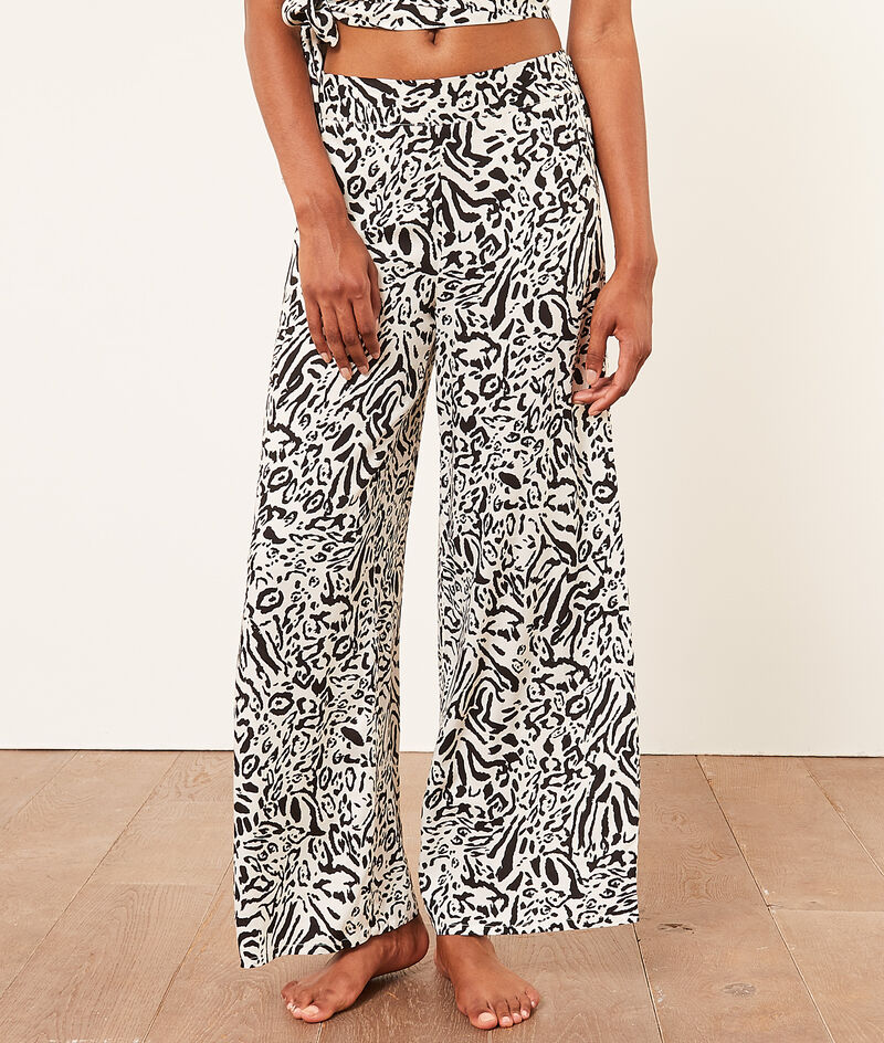 Printed high-waisted flared bottoms;${refinementColor}