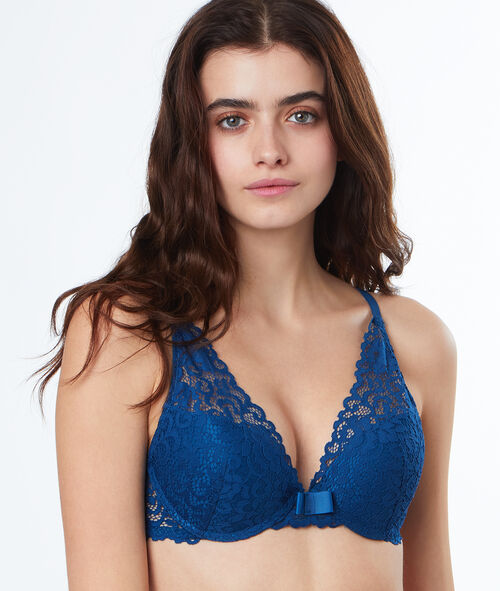 Lace triangle bra, push-up
