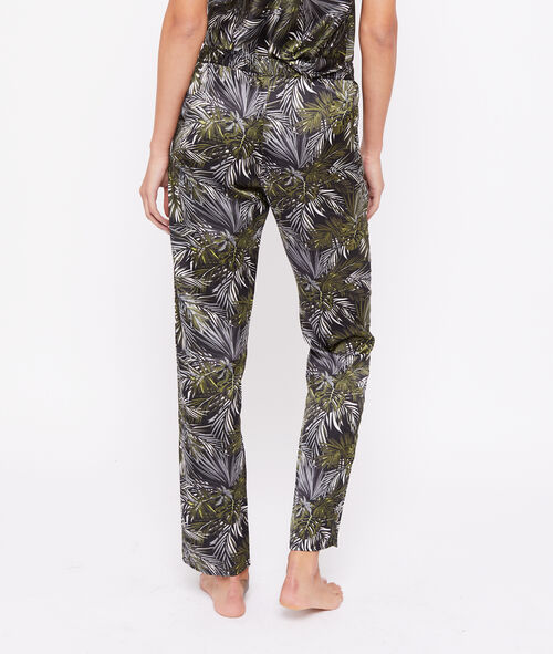 Leaves print satin trousers