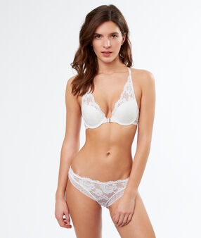 Lace push-up triangle bra, racer back off-white.