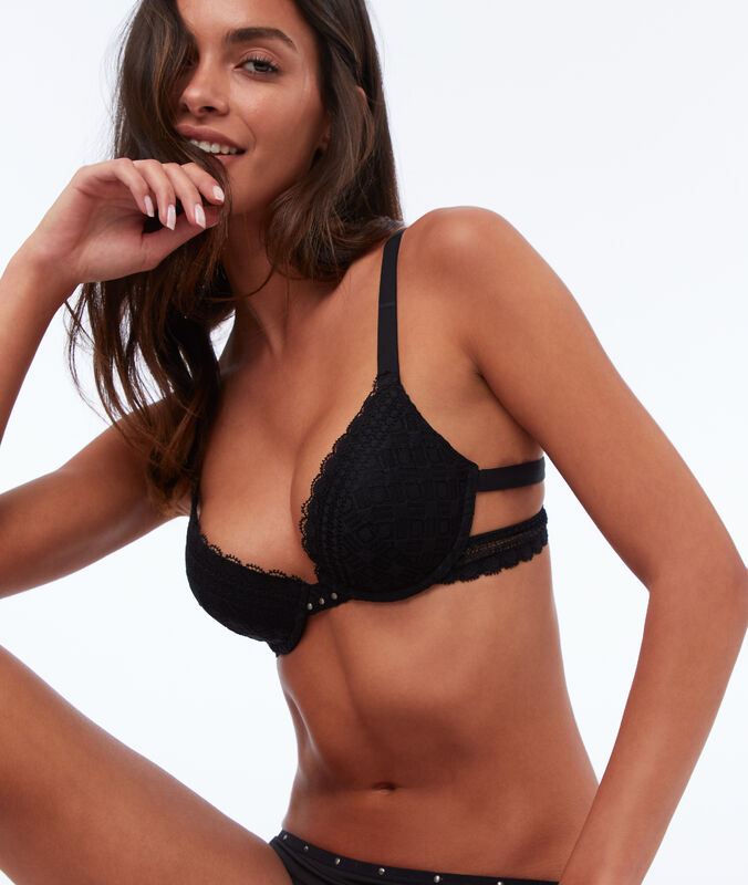 Bra n°2 - lace push-up bra with small studs black.