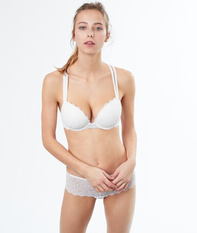 Lace padded bra, racer back off-white.