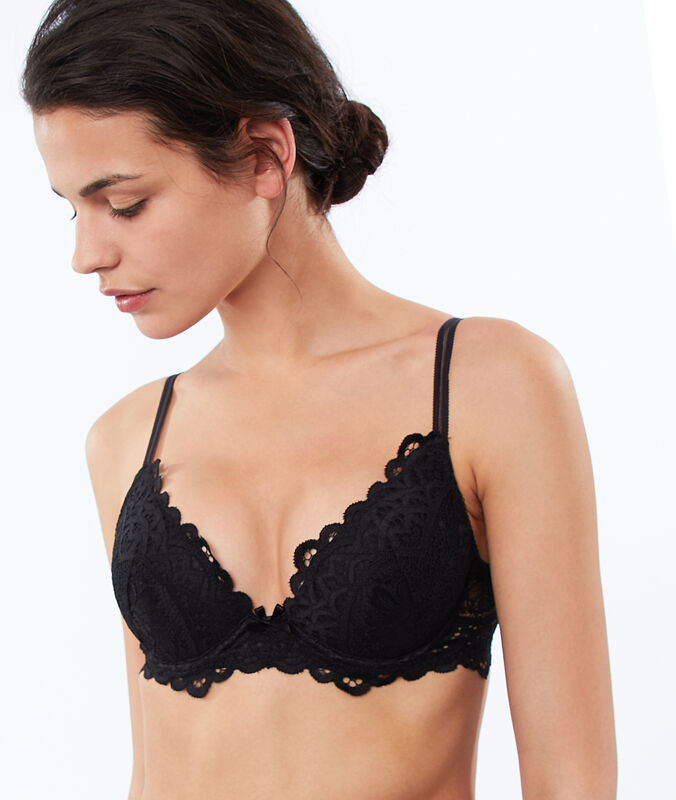 Bra no. 2 - lace plunging push-up bra black.