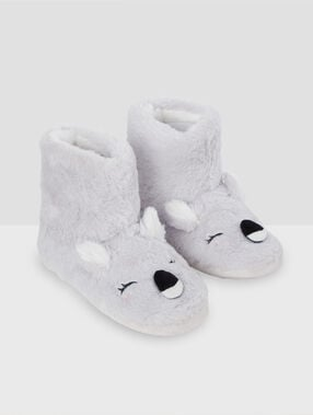 Chaussons bottines koala gris.