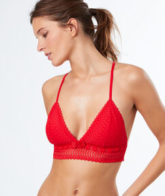 Triangle bra, racer back and underband red.