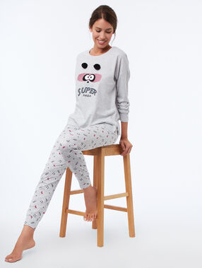 Panda printed pants gray.