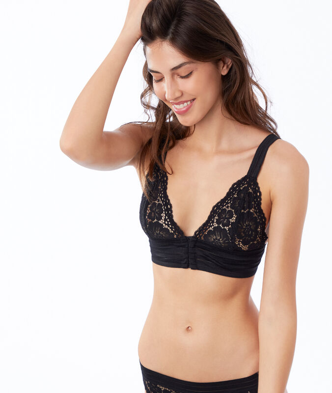 Lace triangle bra, elastic basque black.