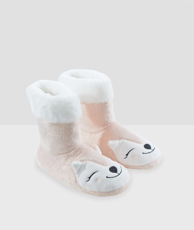 Animal boot slippers pink.