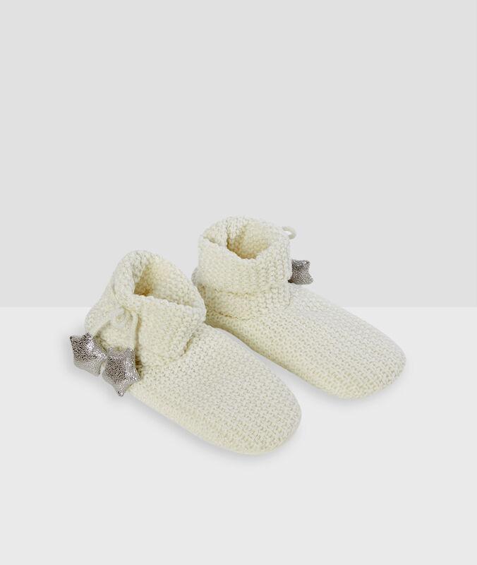 Chaussettes à fils métallisés blanc.