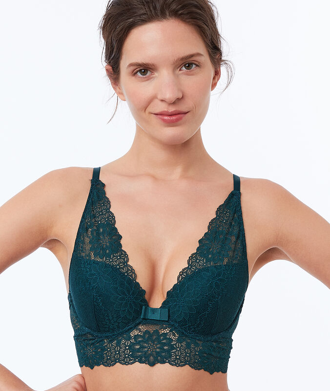 Reggiseno n. 3 - triangolo push-up in pizzo, a balza larga verde pino.