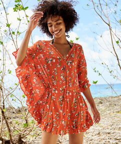 Flowery beach tunic red.