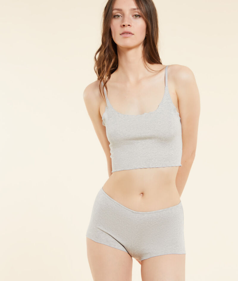 Ribbed crop top with straps;${refinementColor}