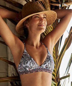 Swimwear triangle bra white printed.
