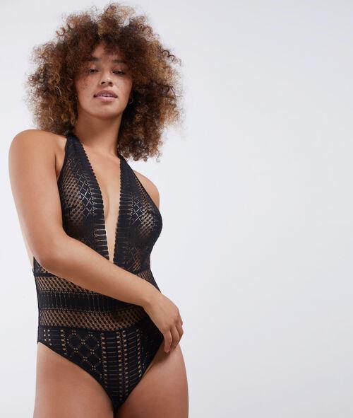 Ornate openwork lace bodysuit