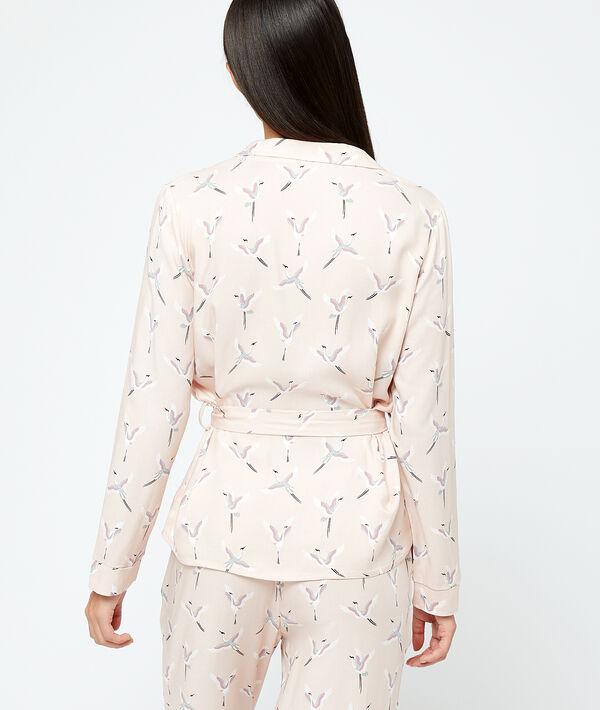 pyjamas shirt in birds print;${refinementColor}