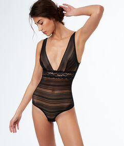 Lace bodysuit, open back black.