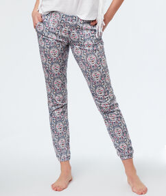 Printed pyjama pants white.