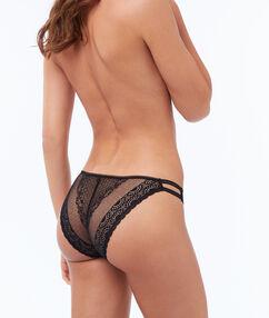 Culotte dentelle à bandes élastiques noir.