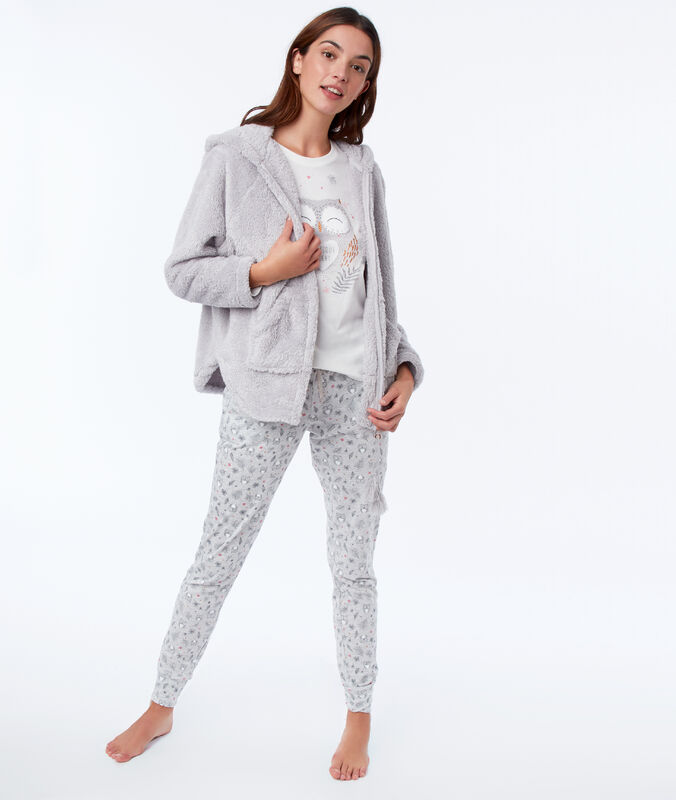 Three-piece owl print pyjama set gray.