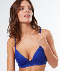 Lace push-up bra royal blue.