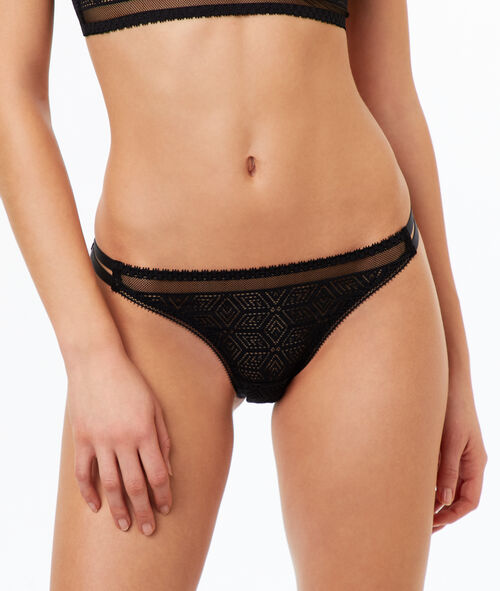 Lace and mesh knickers