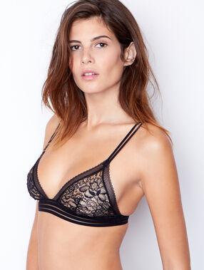 Lace wireless triangle bra black.