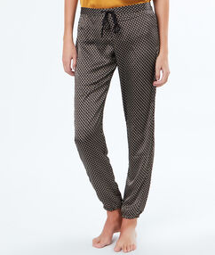 Printed microfiber trousers black.