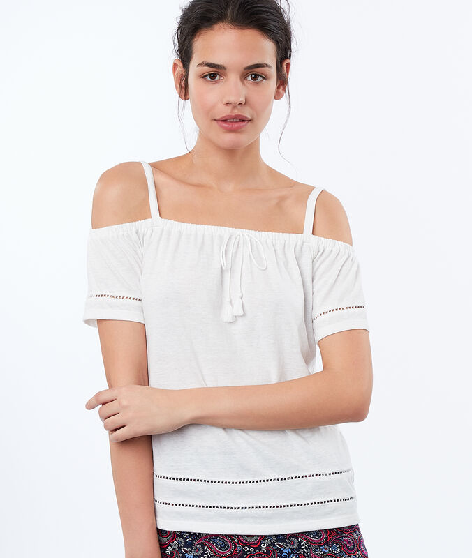 Top a spalle nude bianco.
