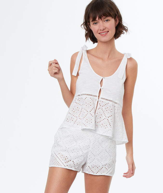 English embroidery pyjama shorts white.