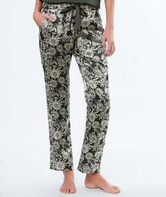 Flower print pyjama bottoms khaki.