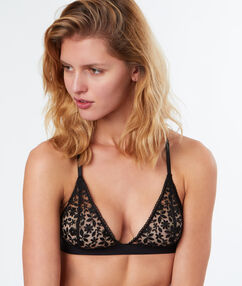 Embroidered tulle non-wired bra with racer back black.