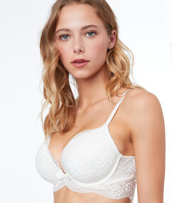 Padded demi cup bra, lace basque white.