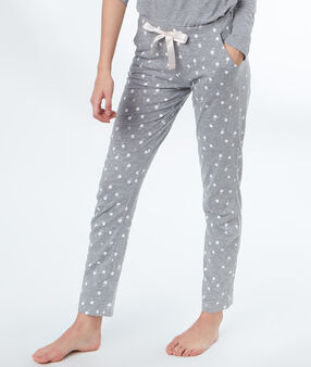 Pants printed cygnes grey.