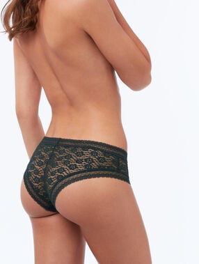 Floral lace hipsters fir green.