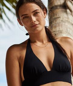Swimwear triangle bra with basque black.